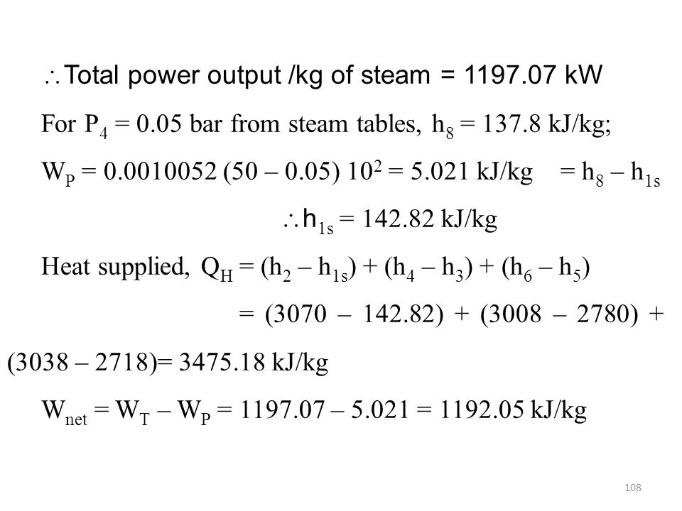 Total power output /kg of steam = kW