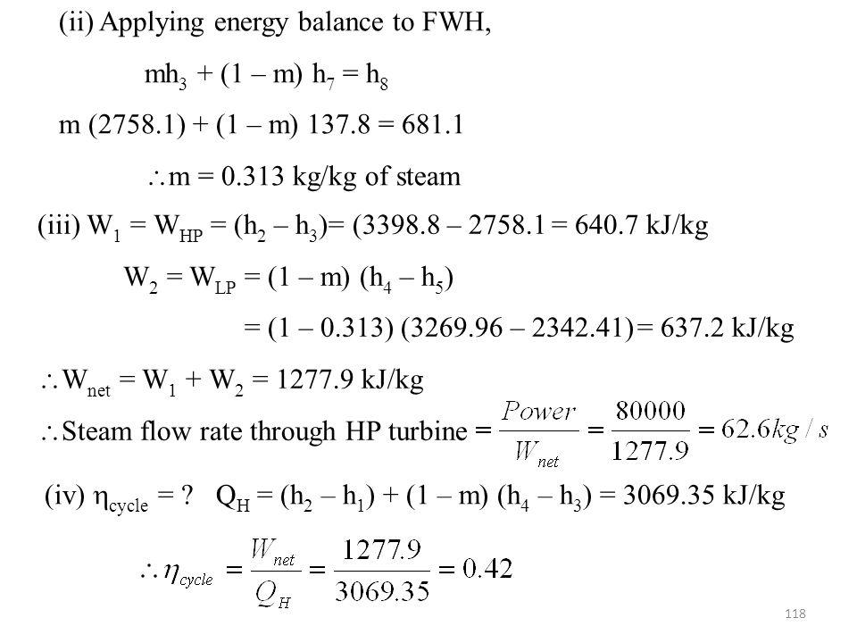 (ii) Applying energy balance to FWH,