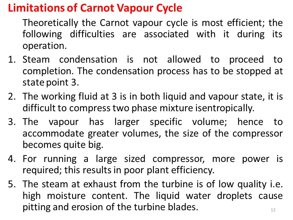 Limitations of Carnot Vapour Cycle
