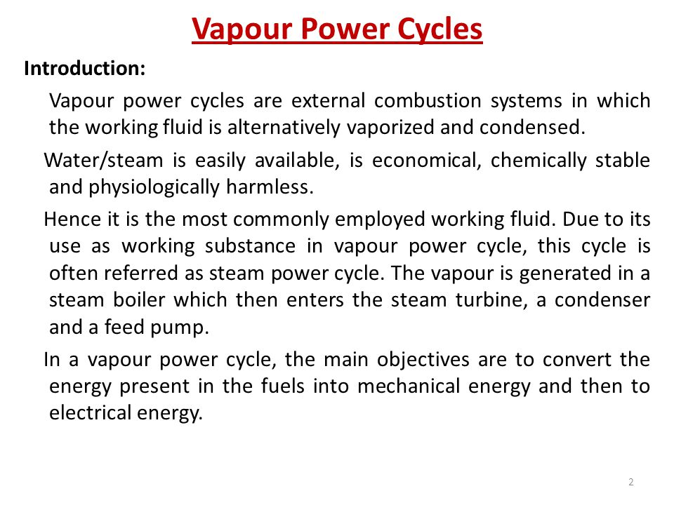 Vapour Power Cycles