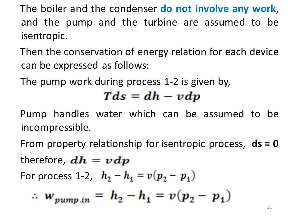 The boiler and the condenser do not involve any work, and the pump and the turbine are assumed to be isentropic.