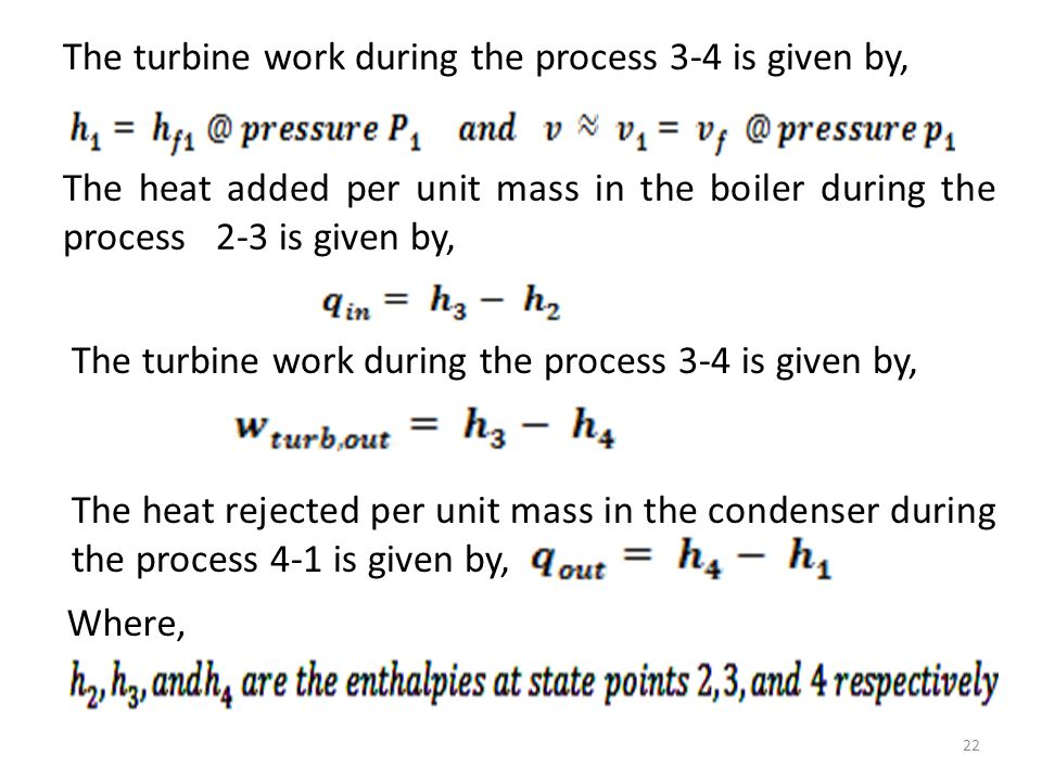 The turbine work during the process 3-4 is given by,