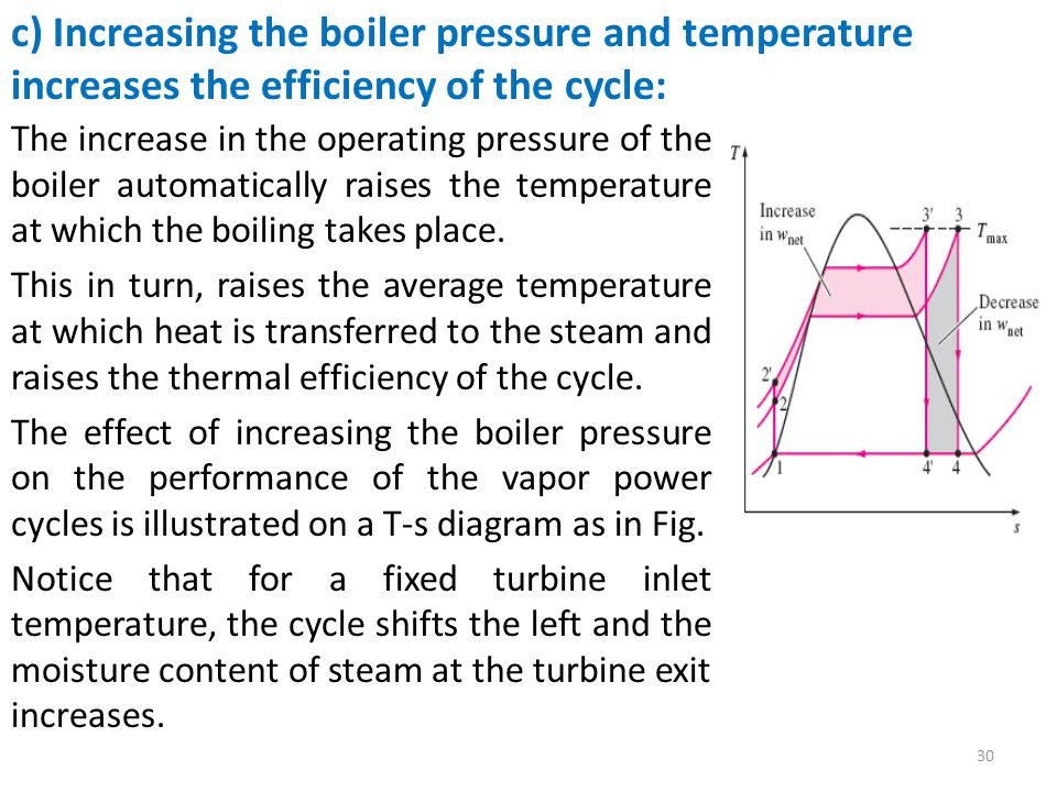 The increase in the operating pressure of the boiler automatically raises the temperature at which the boiling takes place.