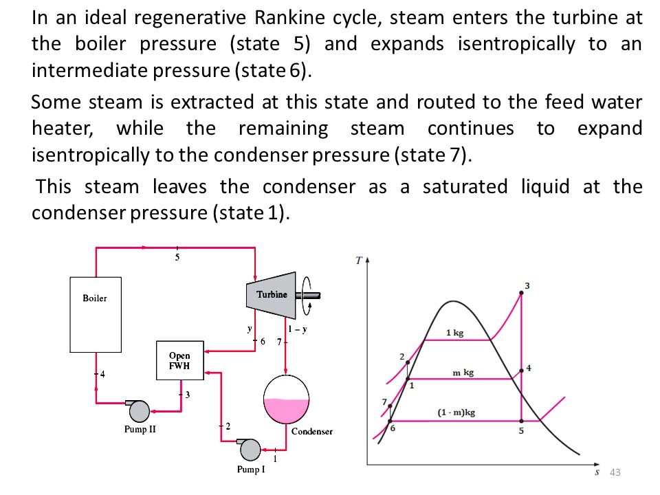 In an ideal regenerative Rankine cycle, steam enters the turbine at the boiler pressure (state 5) and expands isentropically to an intermediate pressure (state 6).