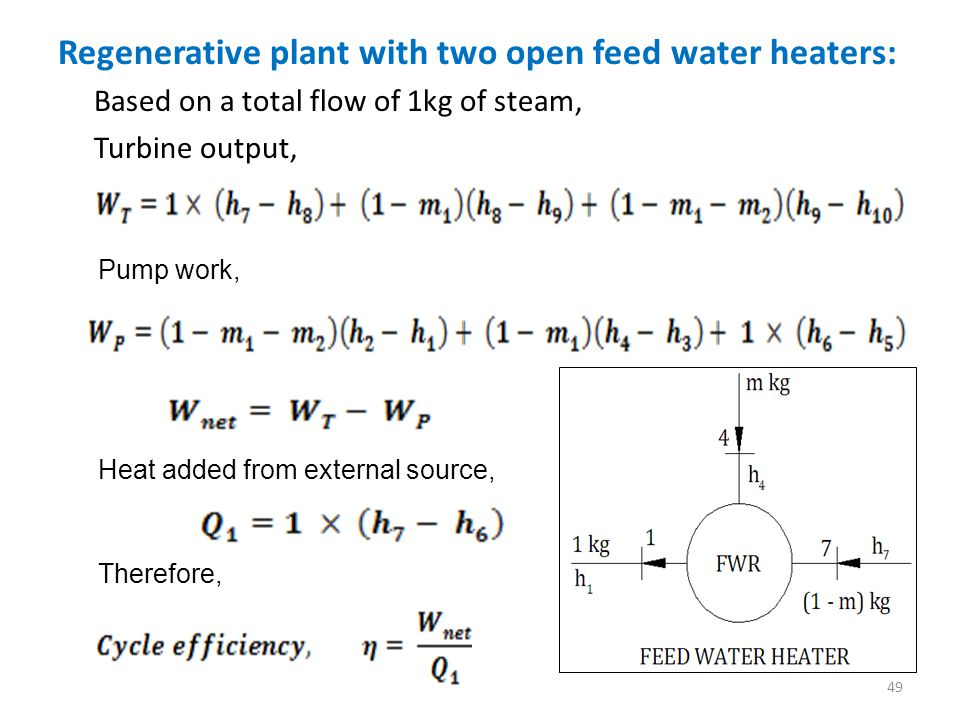 Regenerative plant with two open feed water heaters: