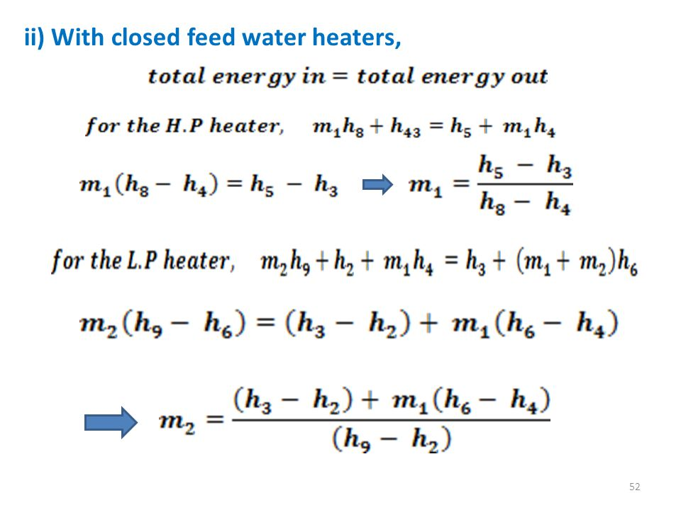 ii) With closed feed water heaters,