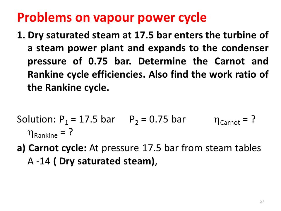 Problems on vapour power cycle