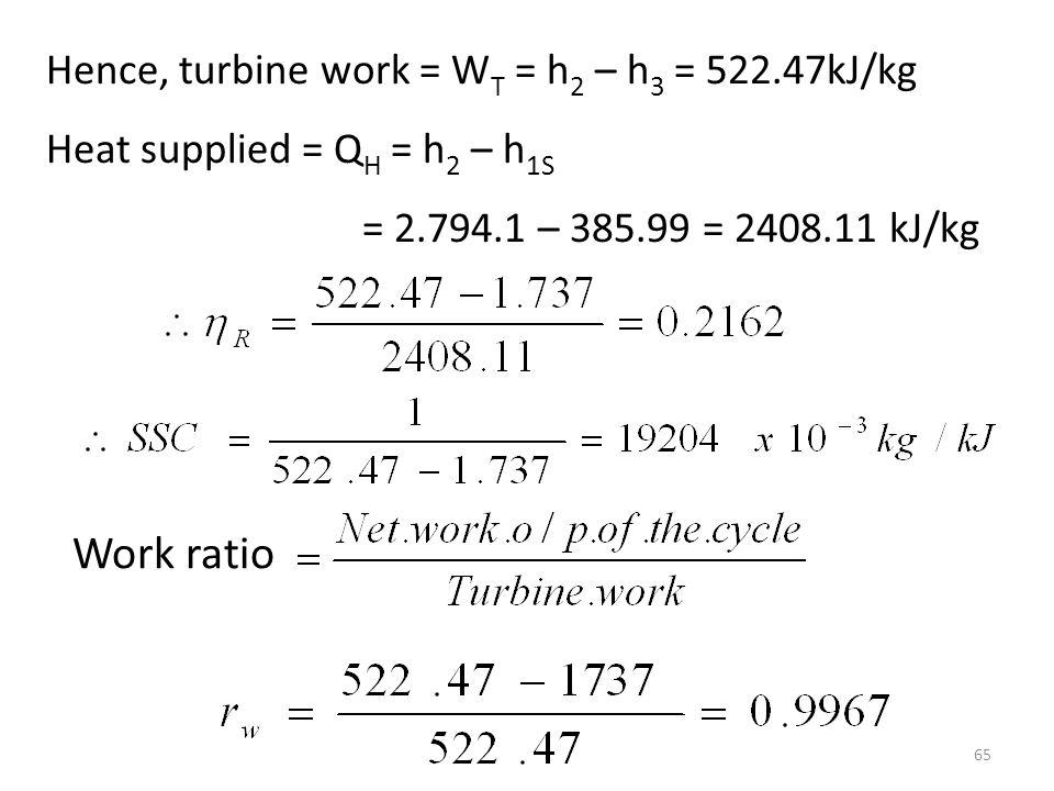 Work ratio Hence, turbine work = WT = h2 – h3 = 522.47kJ/kg