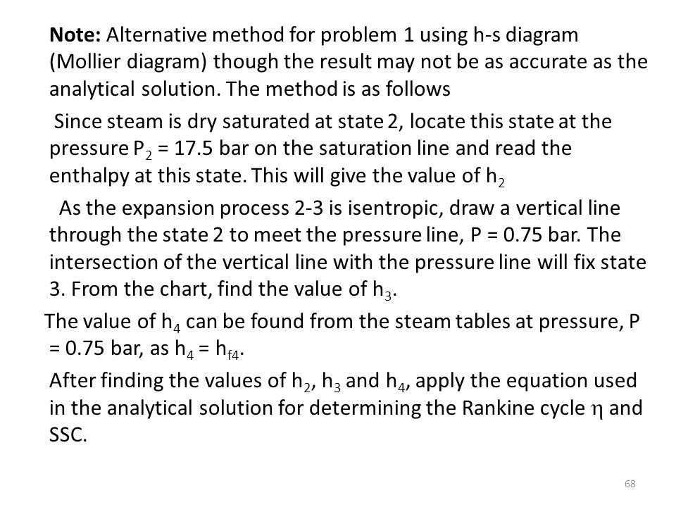 Note: Alternative method for problem 1 using h-s diagram (Mollier diagram) though the result may not be as accurate as the analytical solution.