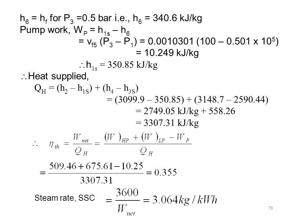 h6 = hf for P3 =0.5 bar i.e., h6 = 340.6 kJ/kg