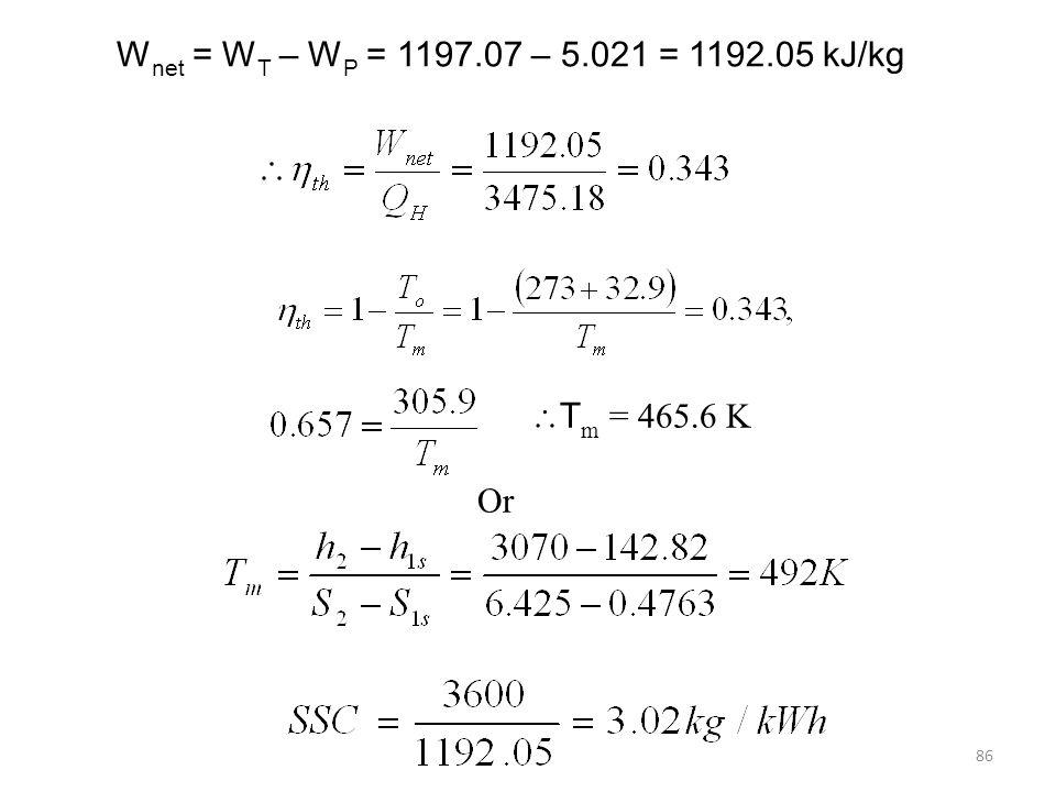 Wnet = WT – WP = 1197.07 – 5.021 = 1192.05 kJ/kg Tm = 465.6 K Or