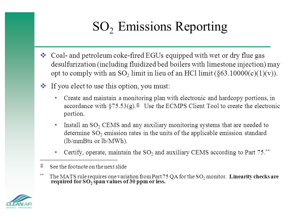 SO2 Emissions Reporting