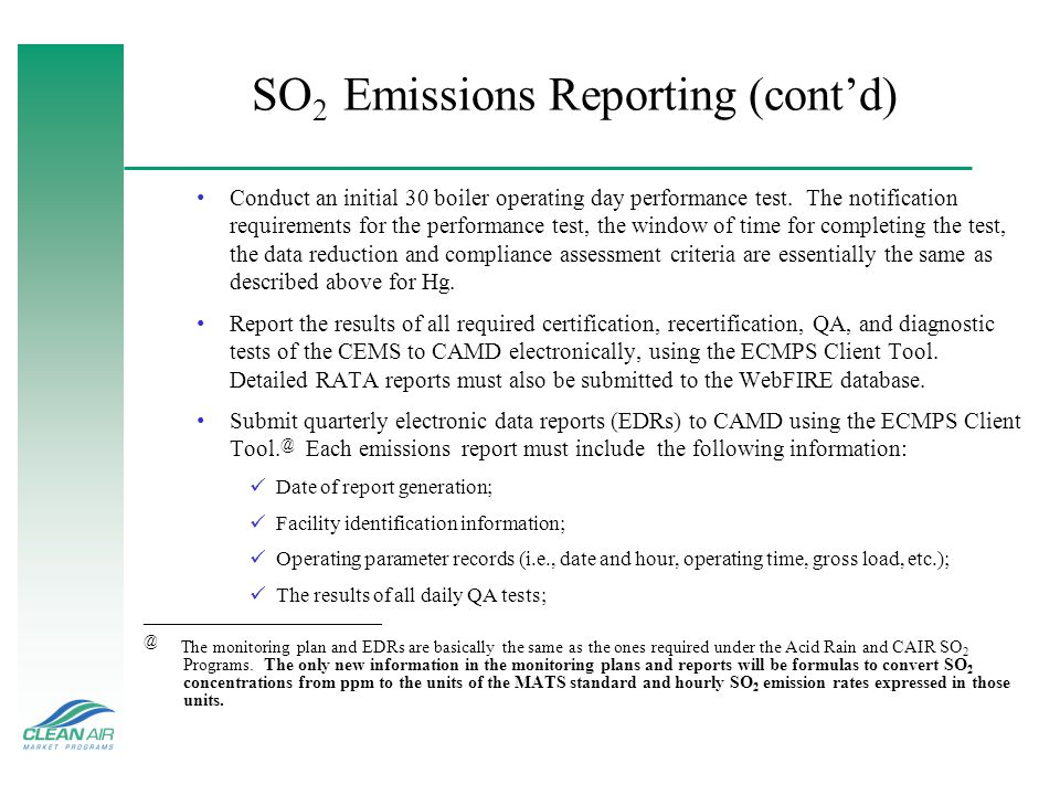 SO2 Emissions Reporting (cont'd)