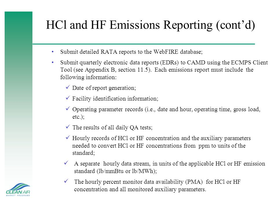 HCl and HF Emissions Reporting (cont'd)