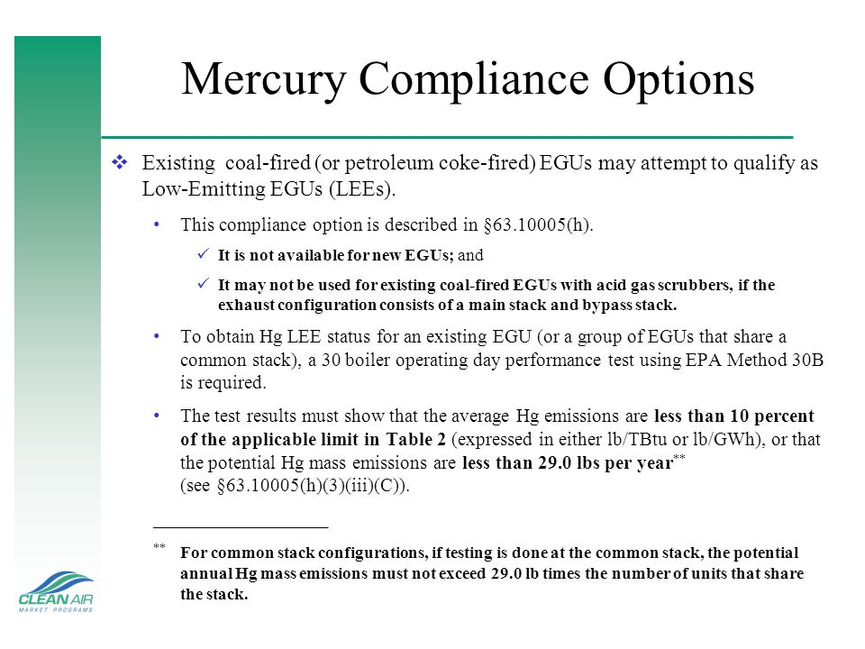Mercury Compliance Options