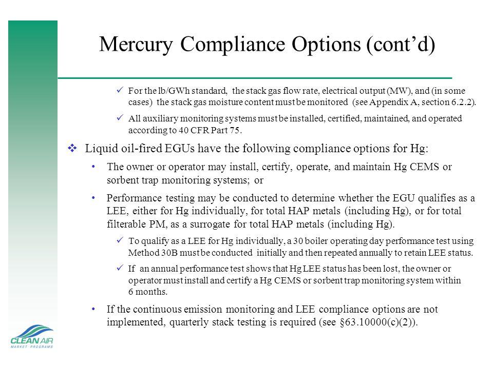 Mercury Compliance Options (cont'd)