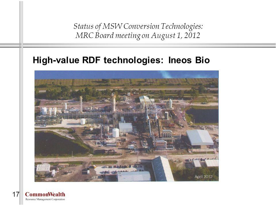 High-value RDF technologies: Ineos Bio