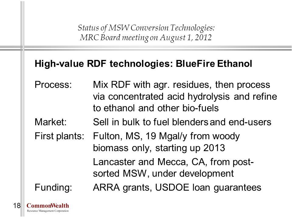High-value RDF technologies: BlueFire Ethanol