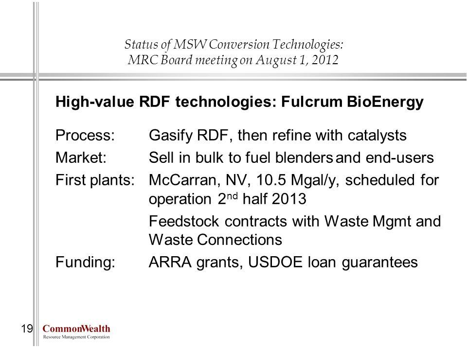 High-value RDF technologies: Fulcrum BioEnergy