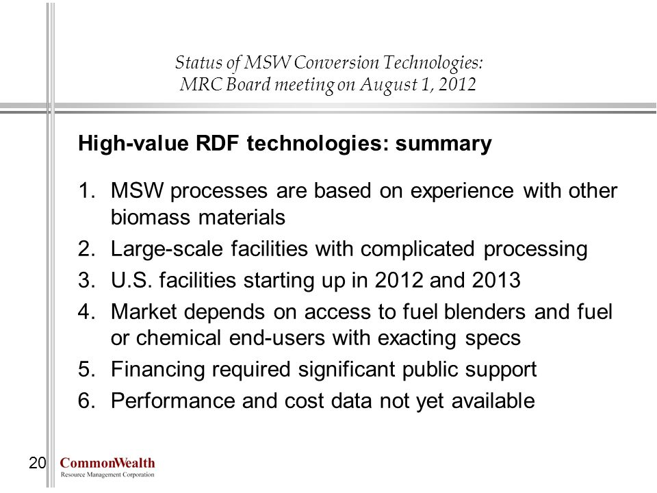 High-value RDF technologies: summary