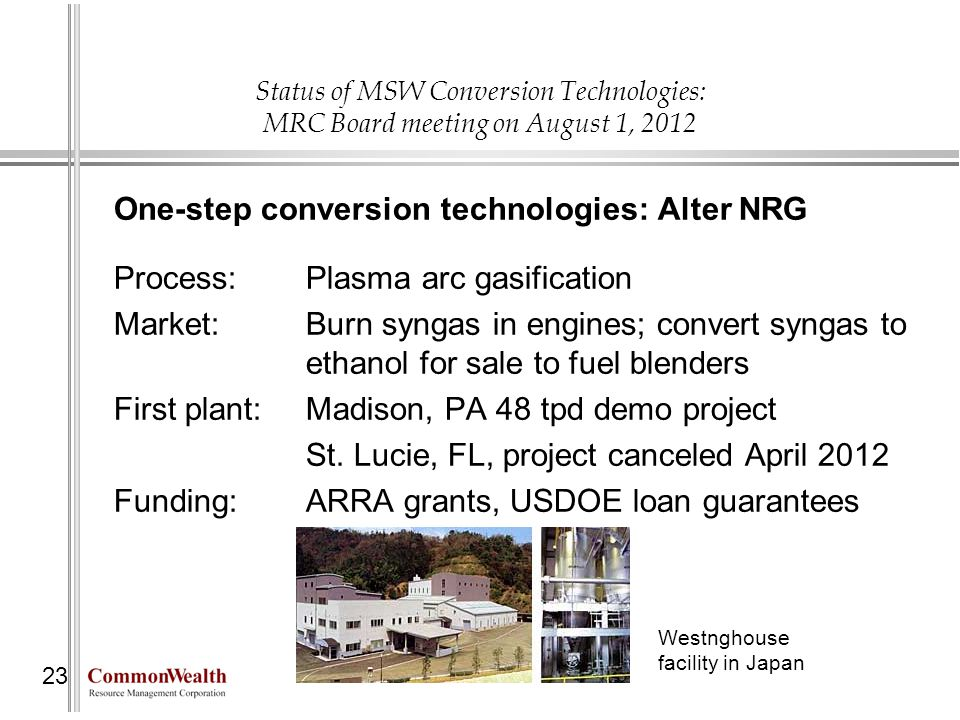 One-step conversion technologies: Alter NRG
