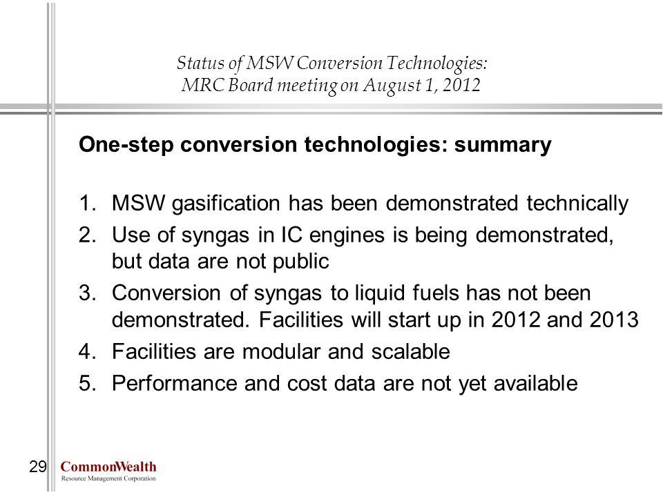 One-step conversion technologies: summary