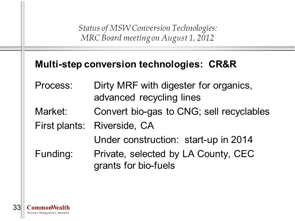 Multi-step conversion technologies: CR&R