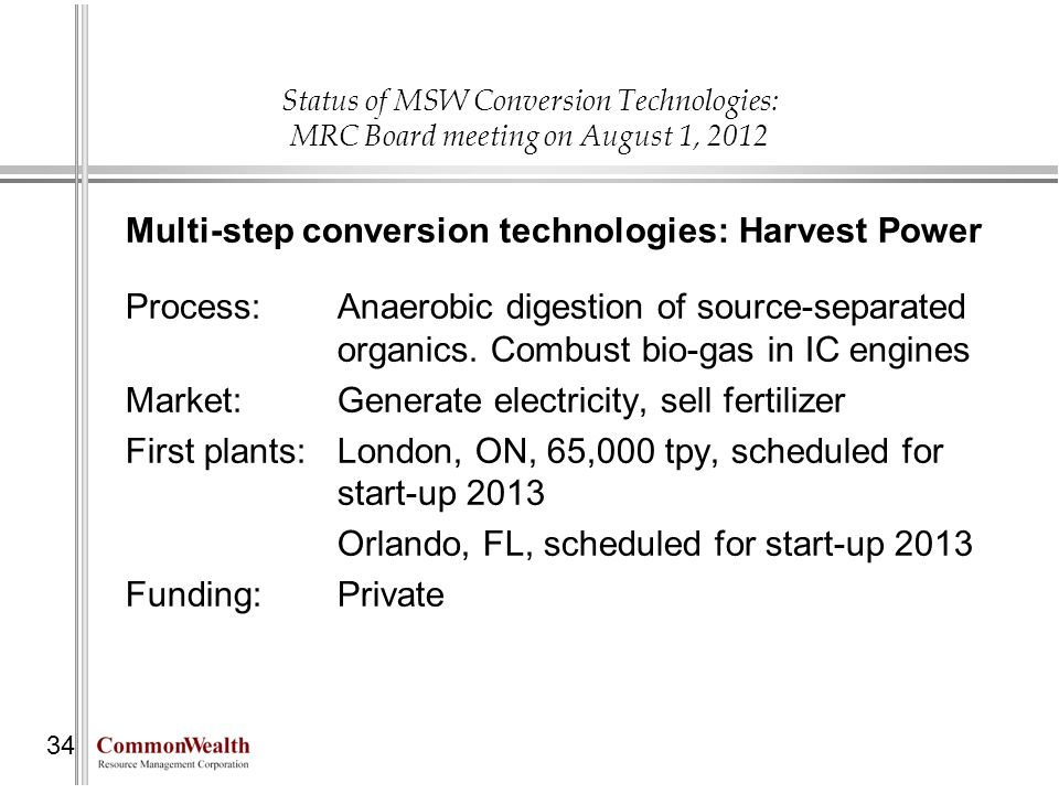 Status of MSW Conversion Technologies: MRC Board meeting on August 1, 2012