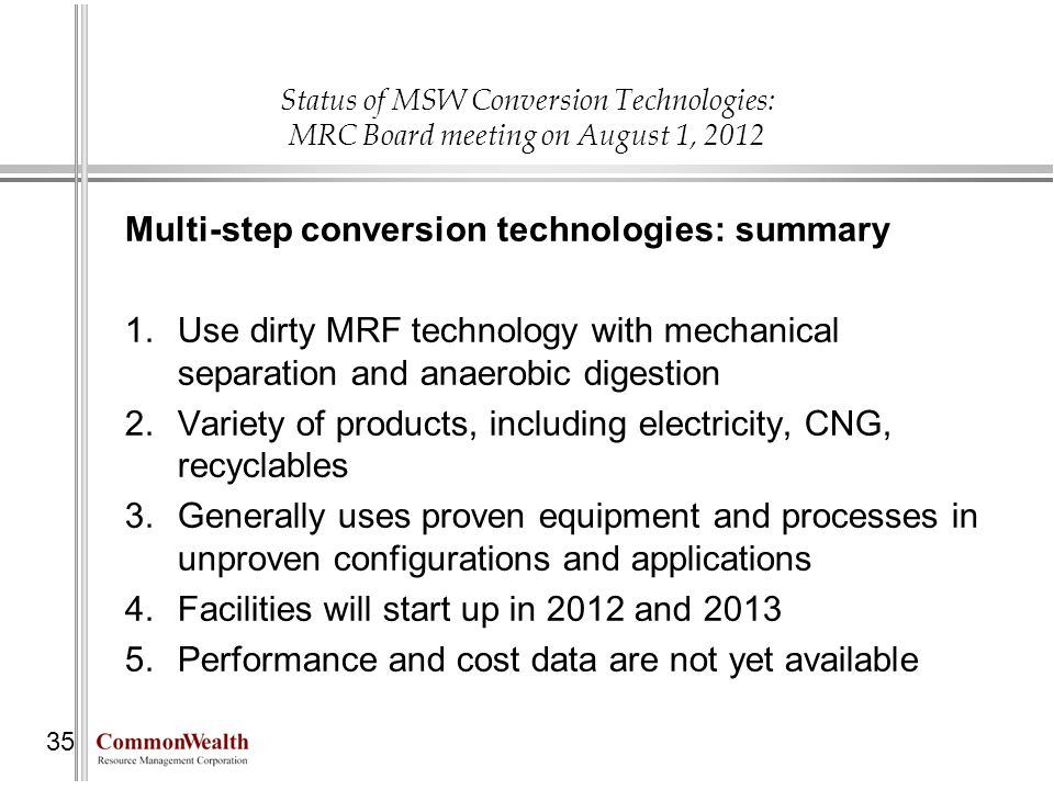 Multi-step conversion technologies: summary