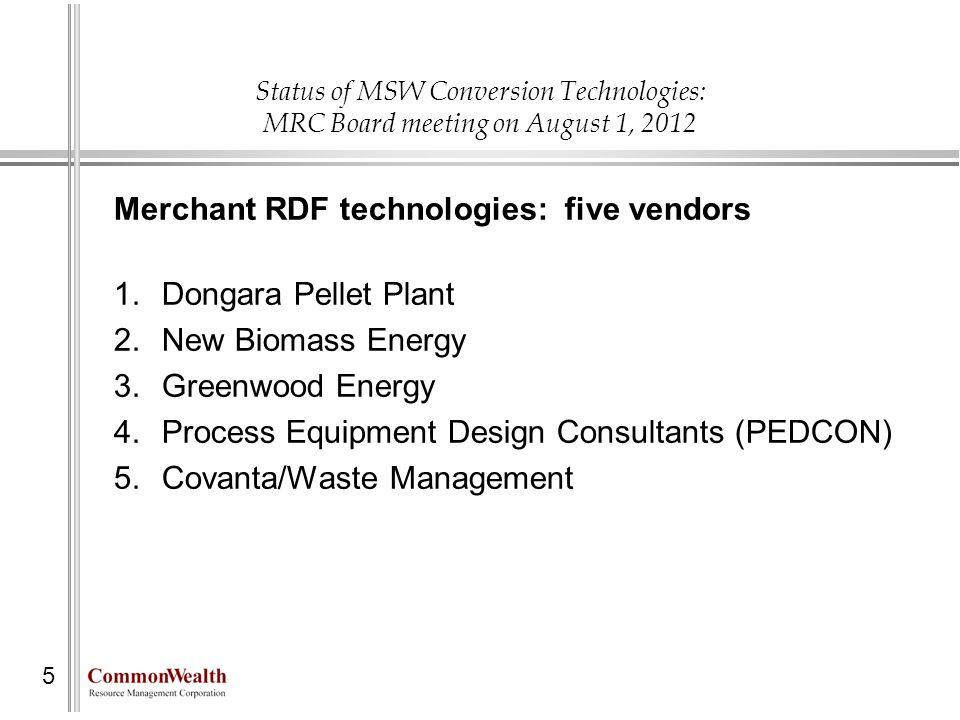 Merchant RDF technologies: five vendors Dongara Pellet Plant