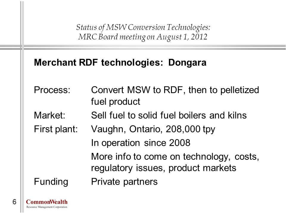 Merchant RDF technologies: Dongara