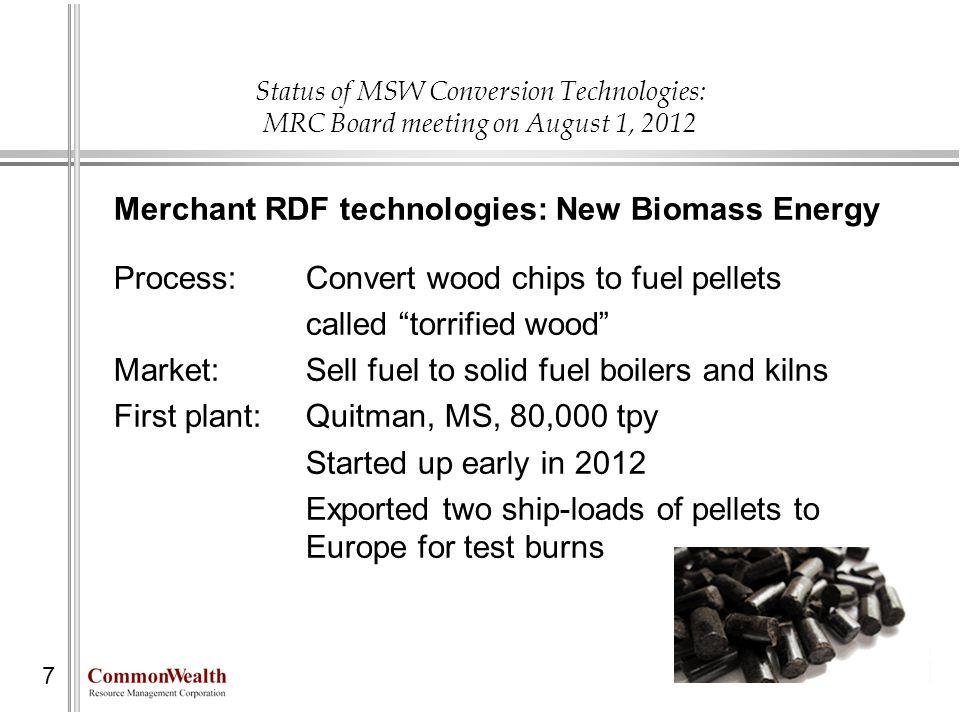 Merchant RDF technologies: New Biomass Energy