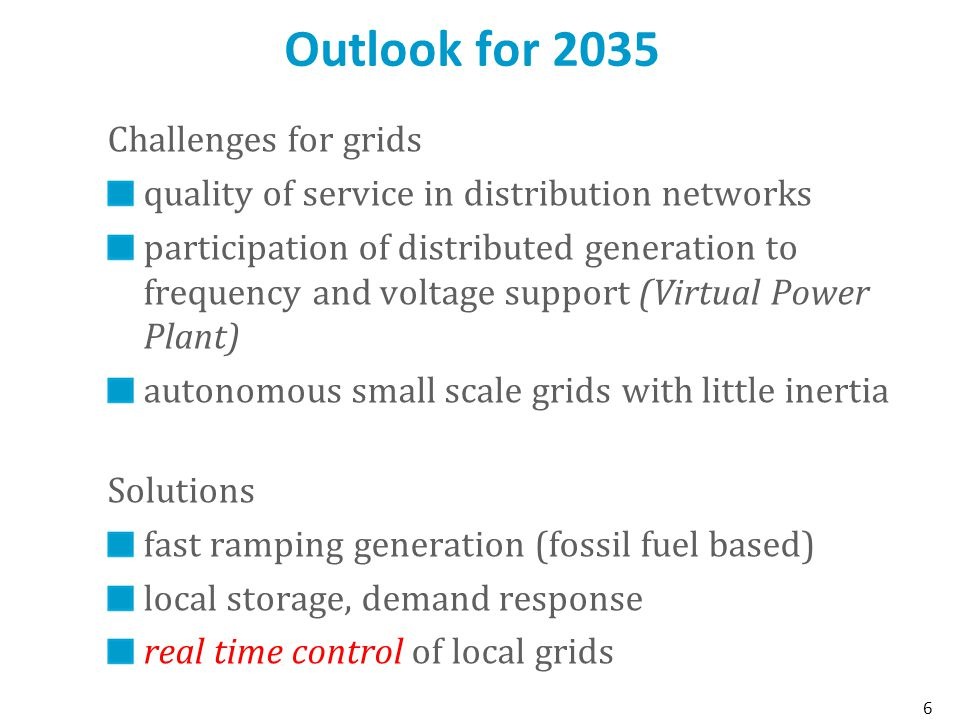 Outlook for 2035 Challenges for grids