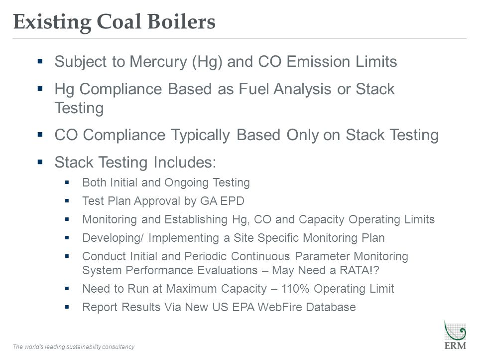 Existing Coal Boilers Subject to Mercury (Hg) and CO Emission Limits