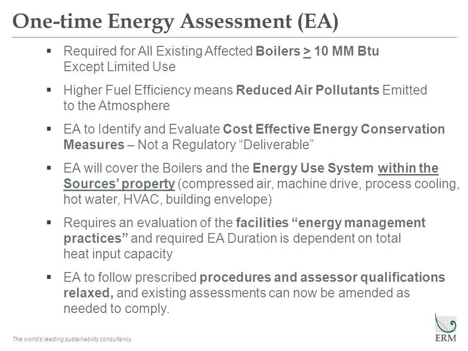 One-time Energy Assessment (EA)