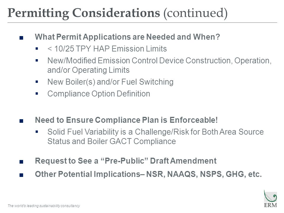 Permitting Considerations (continued)