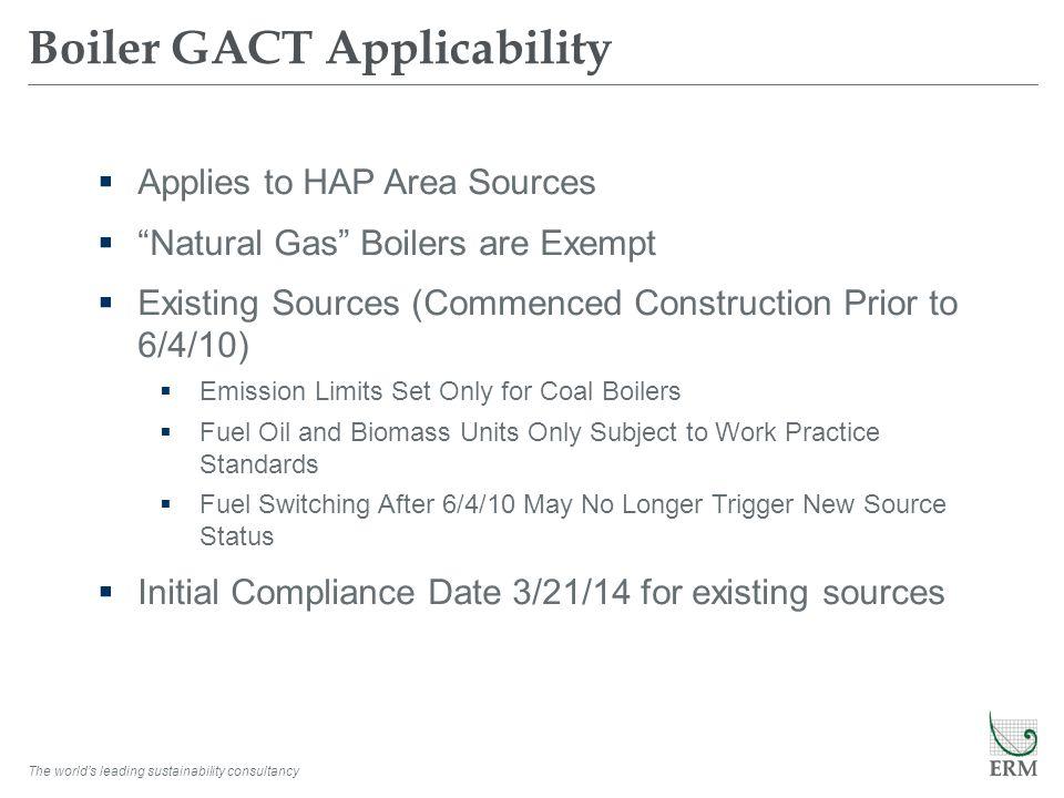 Boiler GACT Applicability