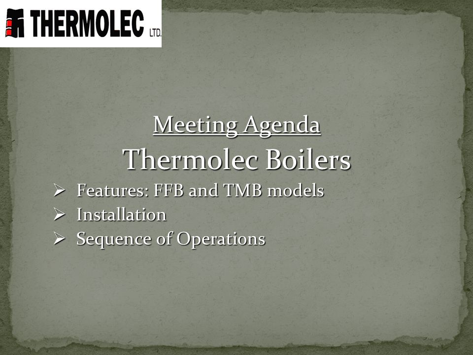 Thermolec Boilers Meeting Agenda Features: FFB and TMB models