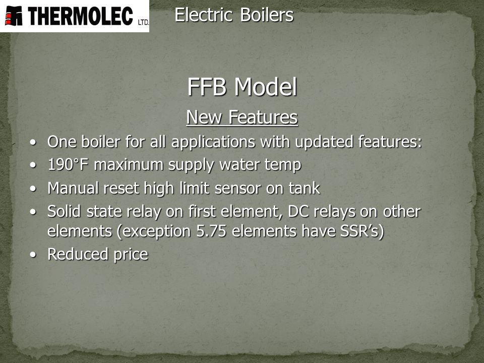 FFB Model Electric Boilers New Features