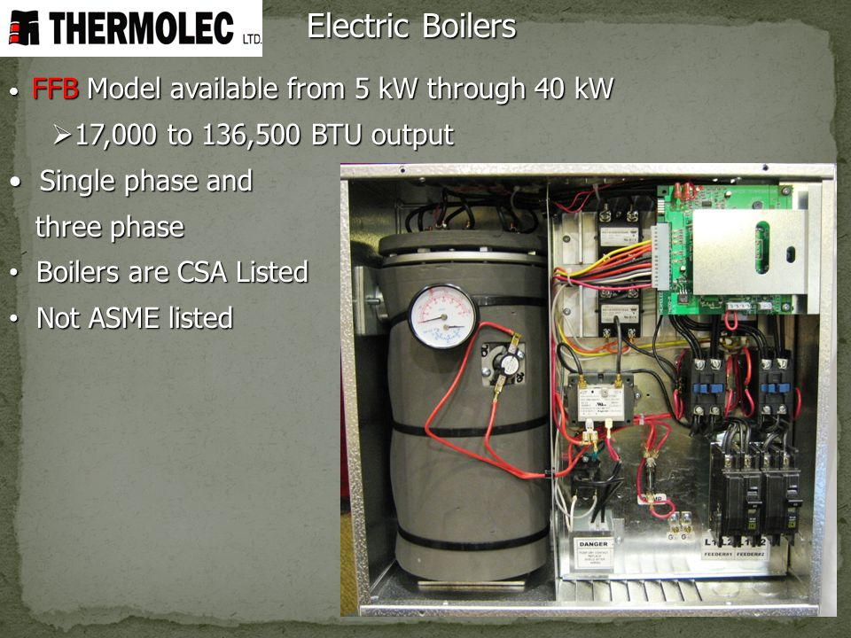Electric Boilers 17,000 to 136,500 BTU output Single phase and