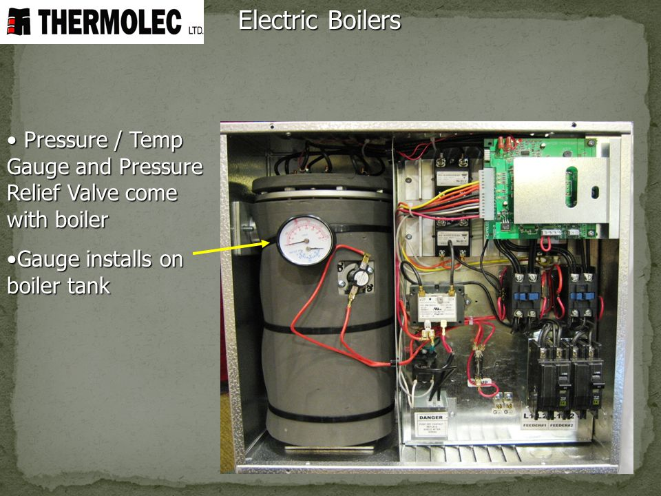 Electric Boilers Pressure / Temp Gauge and Pressure Relief Valve come with boiler.