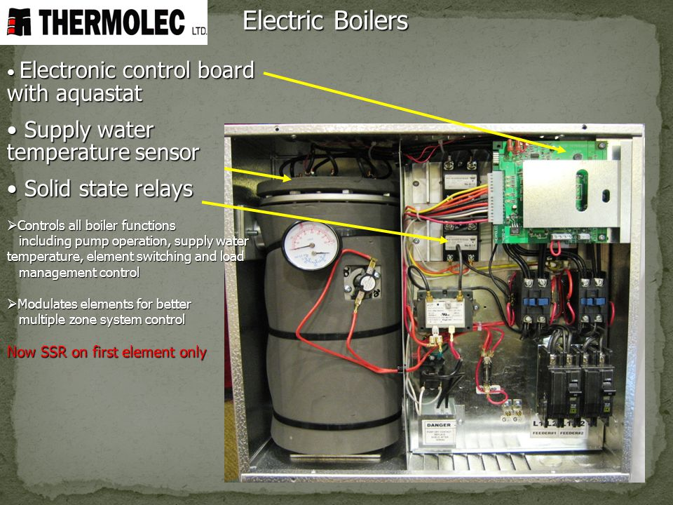 Electric Boilers Supply water temperature sensor Solid state relays