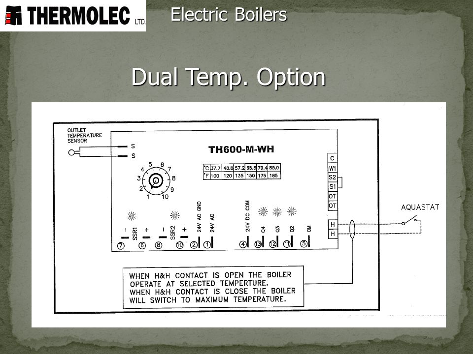 Electric Boilers Dual Temp. Option