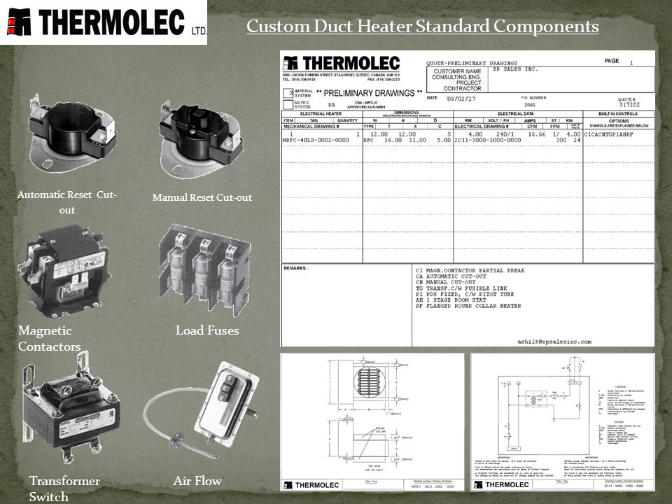 Custom Duct Heater Standard Components