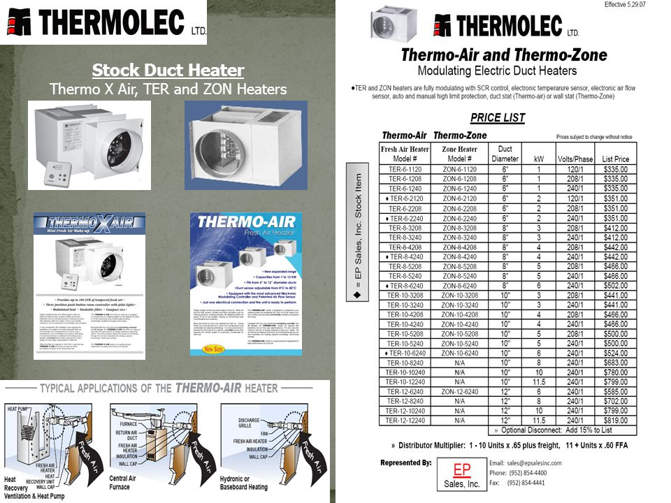 Thermo X Air, TER and ZON Heaters