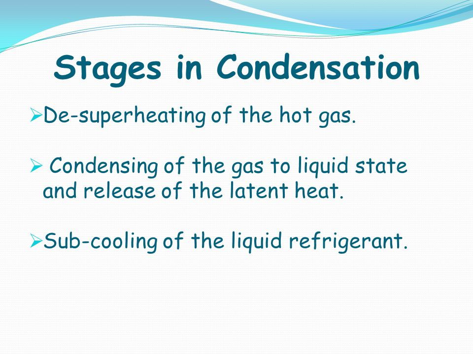 Stages in Condensation