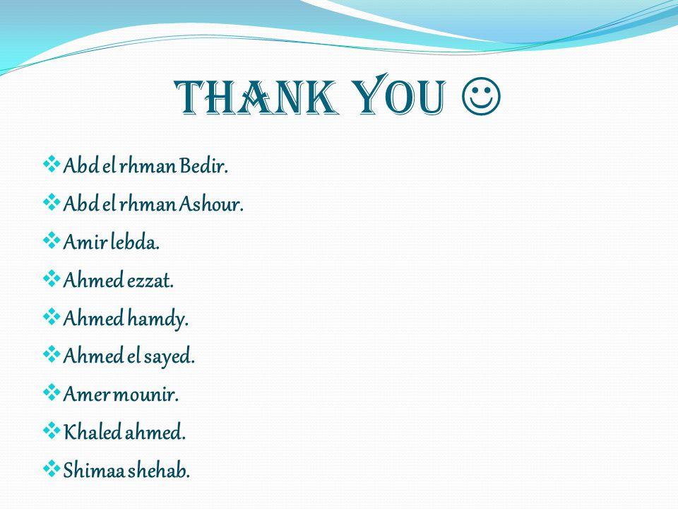 Thank You  Abd el rhman Bedir. Abd el rhman Ashour. Amir lebda.
