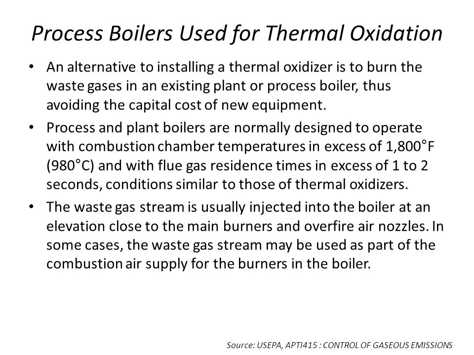 Process Boilers Used for Thermal Oxidation