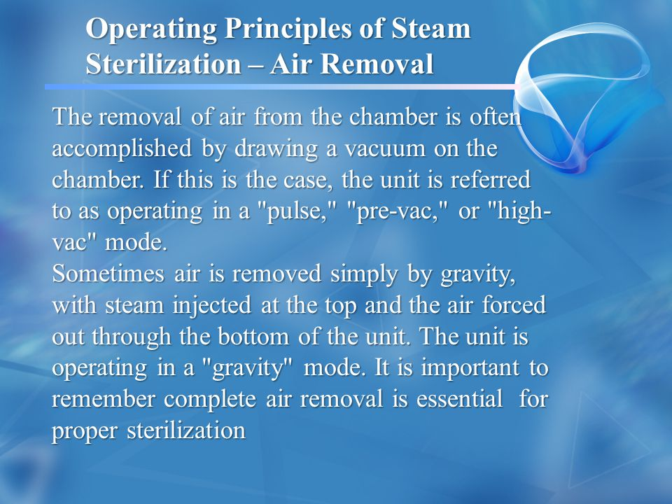 Operating Principles of Steam Sterilization – Air Removal