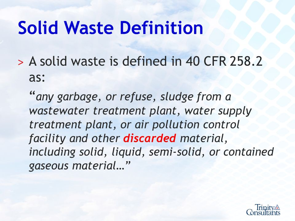 Solid Waste Definition